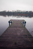 Jetty at Earlswood Lakes on a Winters Morning Stock Photography