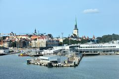 Jetty for the ferry boats in Tallinn Stock Images