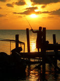 Jetty Fisherman Sunset Sulu Sea Royalty Free Stock Images