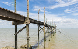 Jetty for fishing and angling in Gironde Stock Image