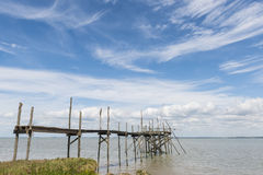 Jetty for fishing in Gironde Royalty Free Stock Image