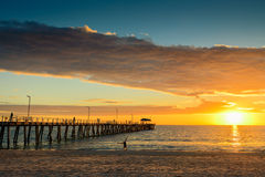 Jetty, fitness and sunset Royalty Free Stock Images