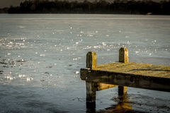 Jetty at frozen lake. Hoornsemeer in Groningen Frozen a green jetty in the front Stock Photos