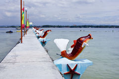 Jetty. Granite jetty by the sea with decorations, Davao, Philippines Royalty Free Stock Photography