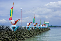 Jetty. Granite jetty by the sea with decorations, Davao, Philippines Royalty Free Stock Images