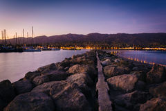 Jetty at the harbor, in Santa Barbara, California. Stock Photo