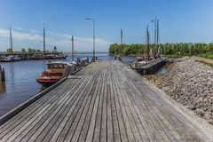 Jetty in the harbor of Zoutkamp Stock Images