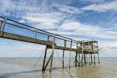Jetty and house for fishing  Gironde Royalty Free Stock Images