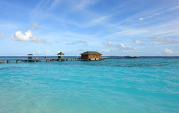 jetty with hut on the maldives Stock Images