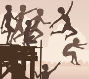 Jetty jumping boys. EPS8 editable vector cutout illustration of children jumping off a wooden jetty Royalty Free Stock Images