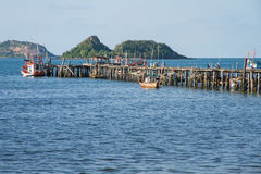 Jetty jutting into sea. In thailand Stock Photography