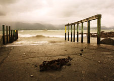Jetty of Kaikoura. Misty and moody jetty at Kaikoura Stock Photo