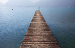 Jetty At Lake Attersee Stock Photography