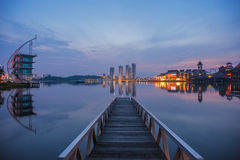 A jetty at a lake during blue hour Royalty Free Stock Image
