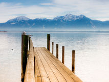 Jetty on lake chiemsee   Stock Image