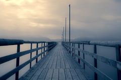 Jetty at lake Chiemsee, Bavaria, Germany Stock Image