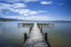 Jetty at lake Chiemsee in Bavaria, Germany Stock Photos