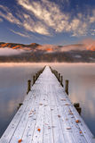 Jetty in Lake Chuzenji, Japan at sunrise in autumn Royalty Free Stock Photos