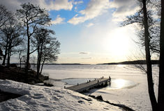 Jetty in lake in early spring Stock Photography