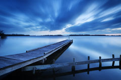 Jetty on a lake at dawn, near Amsterdam The Netherlands Stock Photos