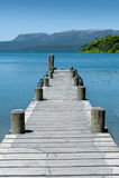 Jetty, Lake & Mountain - Tarawera Stock Image