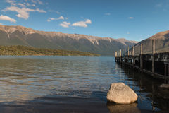 Jetty at lake Rotoiti Stock Image