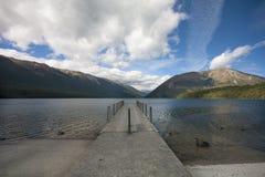 Jetty on Lake Rotoito, Tasman, New Zealand Stock Photography
