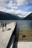 Jetty on Lake Rotoito, Tasman, New Zealand Stock Images