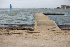 West Kirby marine lake, on a sunny afternoon. stock photography