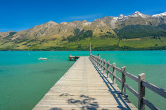 Jetty in the Lake Wakatipu, Glenorchy. New Zealand stock photography