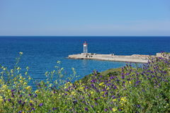 Jetty with lighthouse Port-Vendres France Royalty Free Stock Image