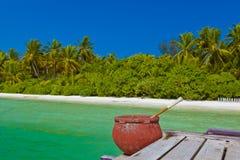 Jetty on Maldives island Stock Photos
