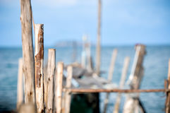 Jetty molo łamający na plaży Obrazy Royalty Free