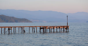 Jetty Molyvos. Jetty at Sunset Molyvos Lesvos stock images