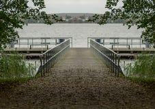 Jetty na jeziorze przy MÃ ¼ ritz Zdjęcie Royalty Free