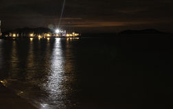 Jetty at night. Lights on the jetty at nighttime Stock Images