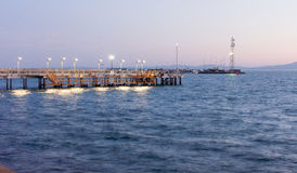 Jetty on a night promenade of Pomorie in Bulgaria Stock Photos