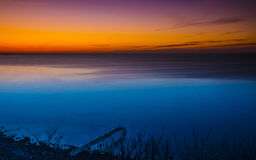 Jetty in nighttime on northsealand costline Stock Photography