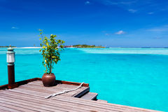 Jetty with ocean view on tropical island royalty free stock photos