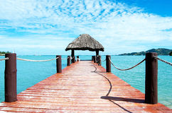 Jetty off Plantation Island, Fiji stock photos