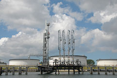 Jetty of an oil storage terminal Royalty Free Stock Photos