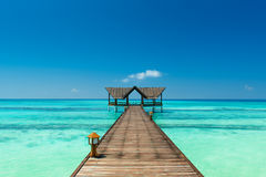 Jetty over the indian ocean. Jetty on the maldives  over the indian ocean Royalty Free Stock Photography