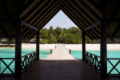 Jetty over the indian ocean Stock Photos