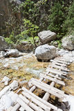 Jetty over the river of the Samaria Gorge Royalty Free Stock Image