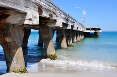 Jetty Perspective into the Blue Indian Ocean Royalty Free Stock Photography