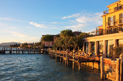 Jetty Port and Quay in Sirmione Stock Photography