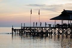 Jetty on Pulau Tiga Island, Sabah at Dusk Stock Images
