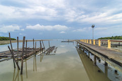 Jetty reflected. A jetty reflected in the still water with cloudy scene Royalty Free Stock Photo