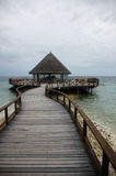 Jetty Restaurant. A restuarant at a wooden jetty on a gloomy day royalty free stock images