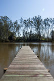 Jetty on River Edge. A jetty on the Murray River, Australia Royalty Free Stock Photo